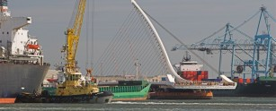 Samuel Beckett bridge arriving in Dublin Port